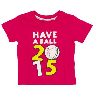 Official ICC Cricket world cup 2015 KIDS PINK LOGO T-SHIRT Clothing