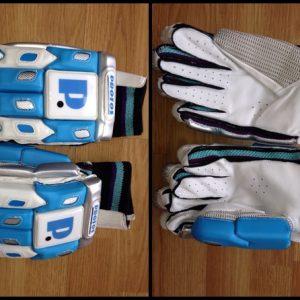 Protos Professional batting gloves(Blue/White) Split Finger Batting Gloves